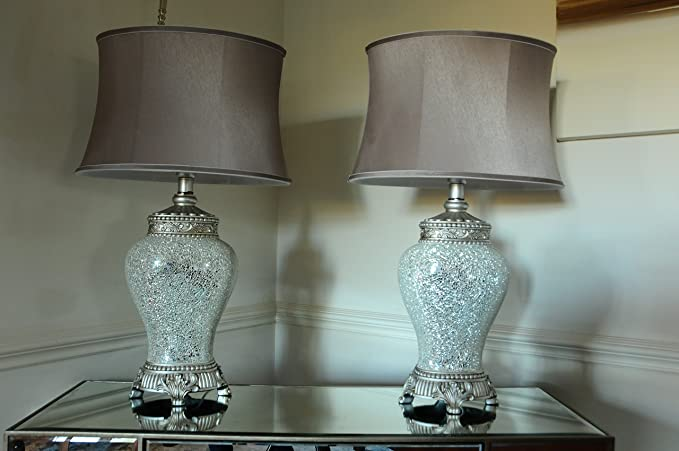 Pair of large table lamps 79cm height silver and sparkle mosaic base pair of large table lamps 79cm height silver and sparkle mosaic base with high quality taupe aloadofball Choice Image