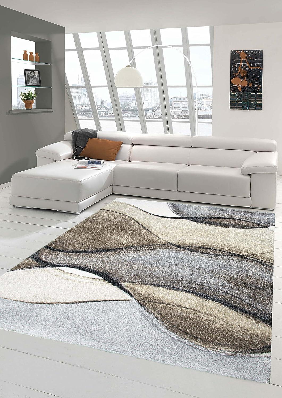 Designer Teppich Moderner Teppich Wohnzimmer Teppich Kurzflor Teppich Barock Design Meliert in Braun Taupe Grau Größe 120x170 cm