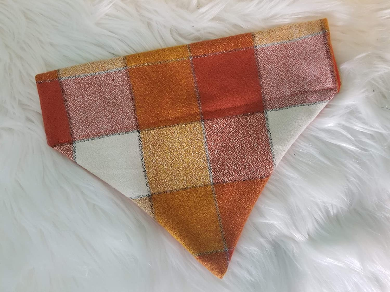 Rustic Orange Buffalo Plaid Flannel Over the Collar Dog Bandana Large