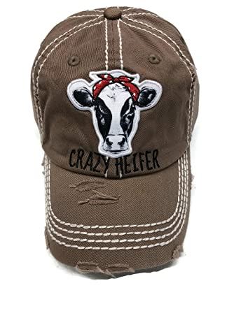 bf06e835d7b964 Embroidered Crazy Heifer on Distressed Washed Espresso Baseball Cap Hat at  Amazon Women's Clothing store: