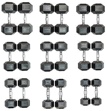 CrystalTec, pesas hexagonales de caucho (par) - 6 kg a 30 kg juegos, negro: Amazon.es: Deportes y aire libre