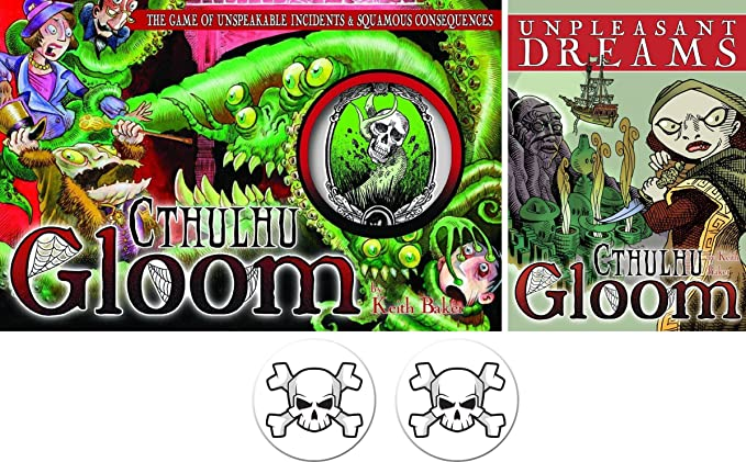 Cthulhu Gloom & Unpleasant Dreams Expansion Bundle Plus 2 Skull ...