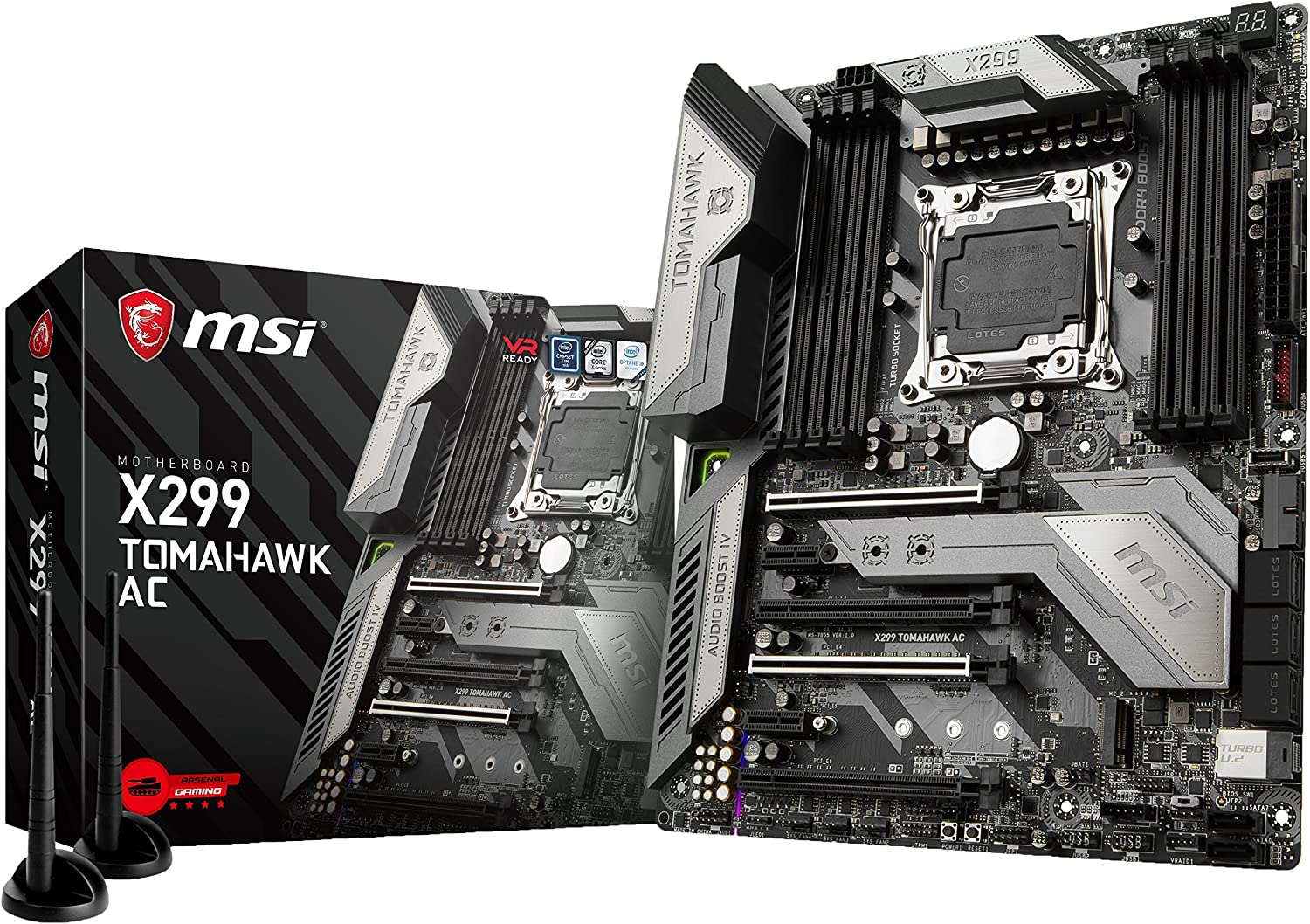 MSI Arsenal Gaming Intel X299 LGA 2066 DDR4 USB 3.1 SLI ATX Motherboard (X299 Tomahawk AC) (Renewed)