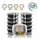 Amazy Lunchbox lot de 10   2 compartiments – Boîte repas réutilisable pour préparer et organiser vos repas (10 boîtes, 900 ml)