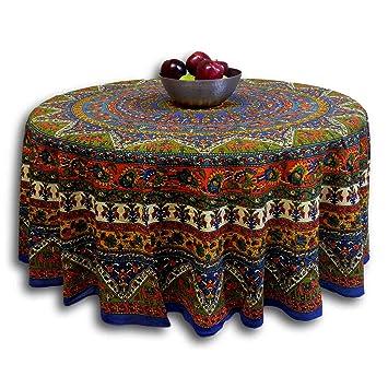 Indian Mandala Print Round Cotton Tablecloth 76u0026quot; ...