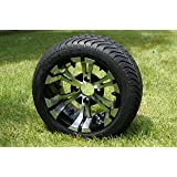 """12"""" Golf Cart Wheels and Tires, Machined/Black, Set of 4"""