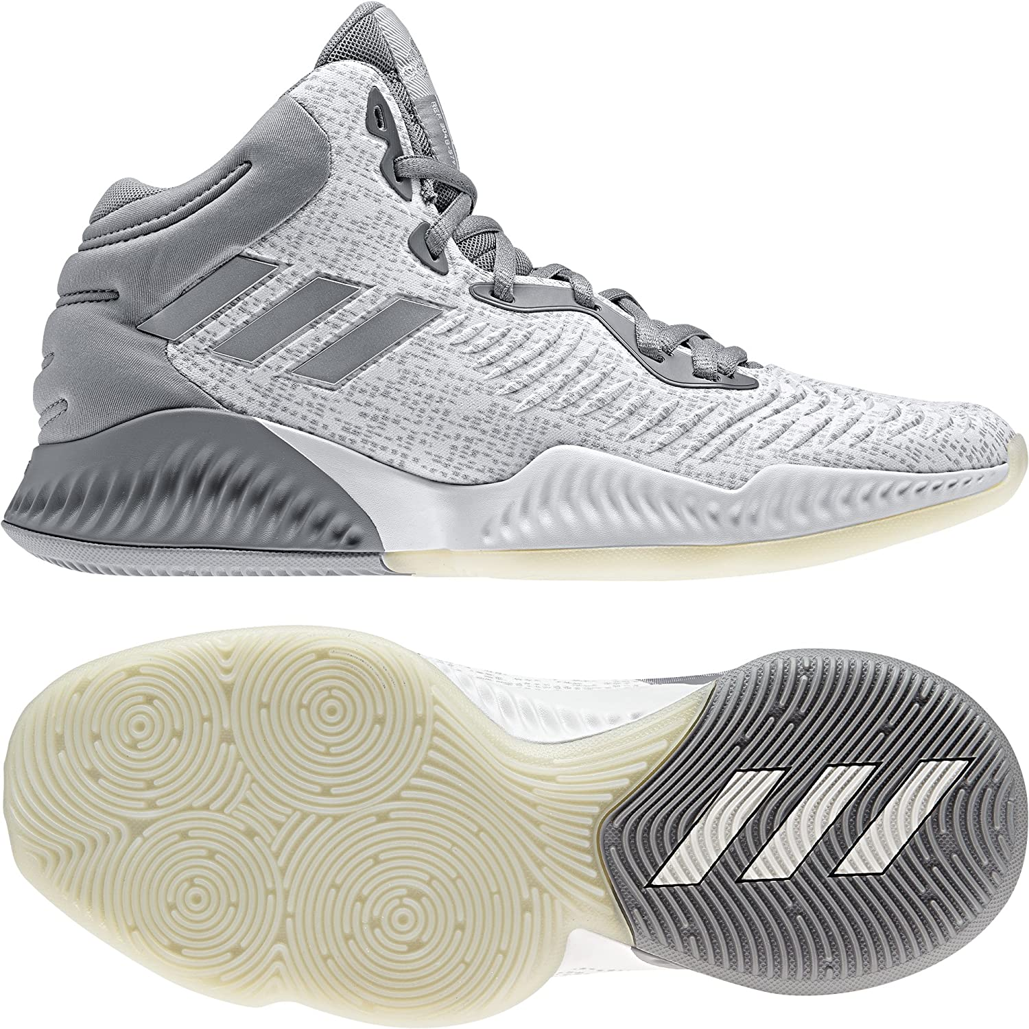 gris (Grethr Silvmt Greone Grethr Silvmt Greone) adidas Mad Bounce 2018, Chaussures de Basketball Homme 55 1 3 EU