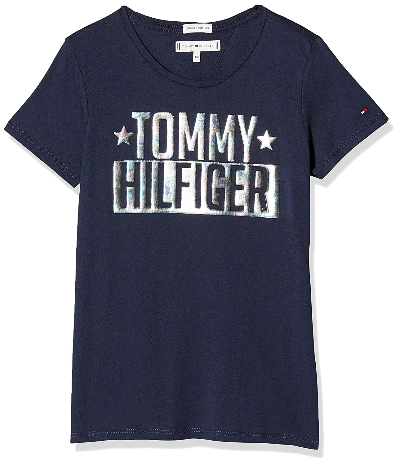 939992ced Tommy Hilfiger Girl's Foil Logo Tee S/S T-Shirt: Amazon.co.uk: Clothing