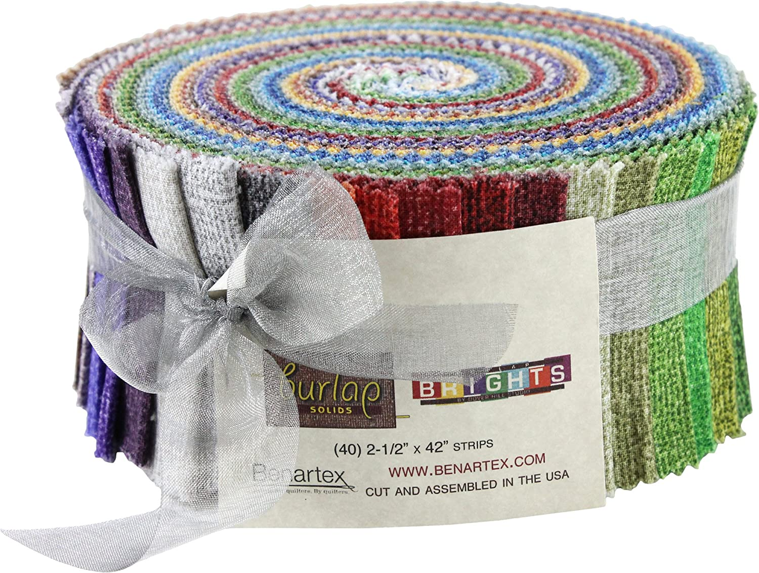 Burlap Solids Brights Pinwheel 40 2.5-inch Strips Jelly Roll Benartex 4336995665