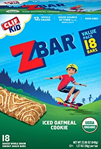 Clif Kid ZBAR - Organic Granola Bars - Iced Oatmeal Cookie - (1.27 Ounce Energy Bars, Kids Snacks, 18 Count) (3 Pack(18 Count))