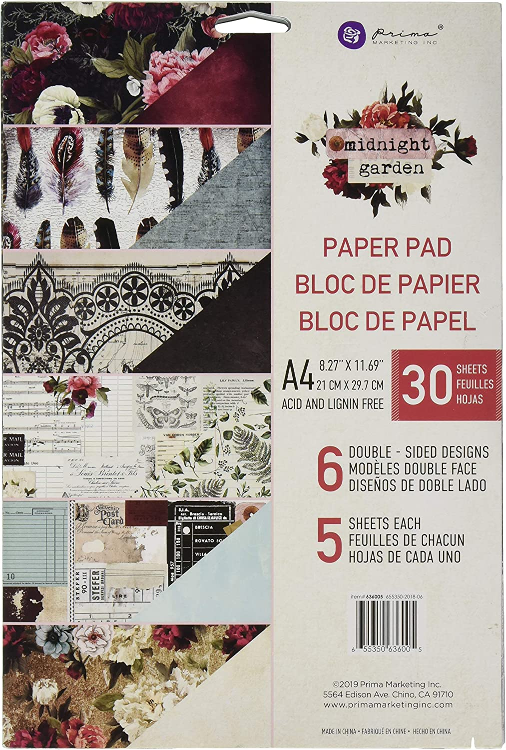 Prima Marketing Double-Sided Paper Pad A4 30/Pkg-Midnight Garden, 6 Designs/5 Each, Multi