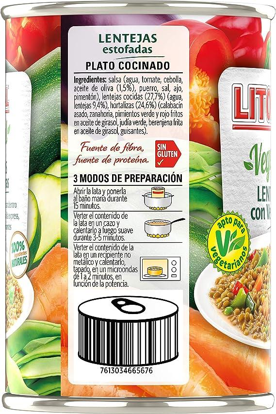 LITORAL Vegetal Lentejas con Verduras, Plato Preparado Sin ...