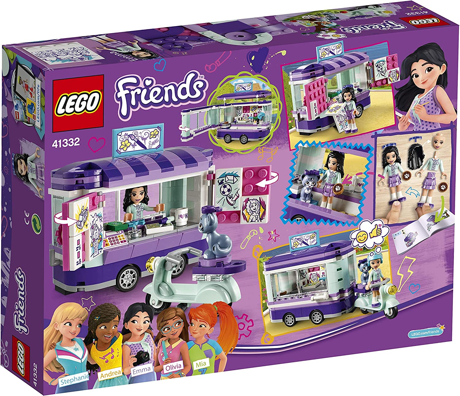 Build and Play Fu LEGO 41332 Friends Heartlake Emma's Art Stand Trailer Playset