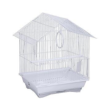 Jaula para pájaros en acero blanco + mangeoires columpio perchoir ...
