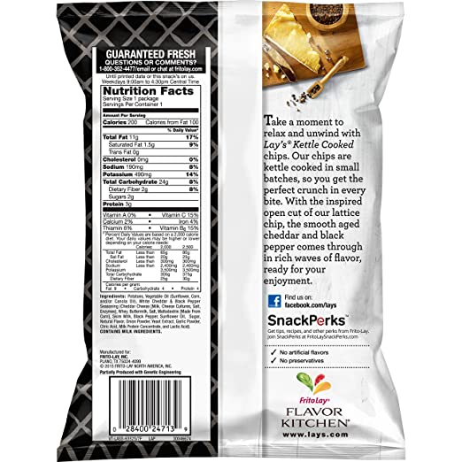 Amazon.com: Lay\'s Kettle Cooked 40% Less Fat Original Potato Chips ...