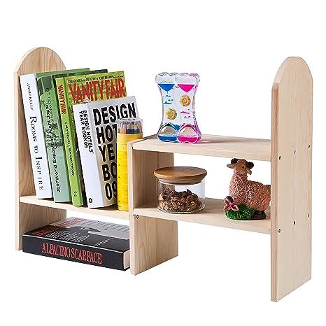 display light organizer rack top storage counter wood bookcases adjustable ip shelf bookcase bookshelf desktop color