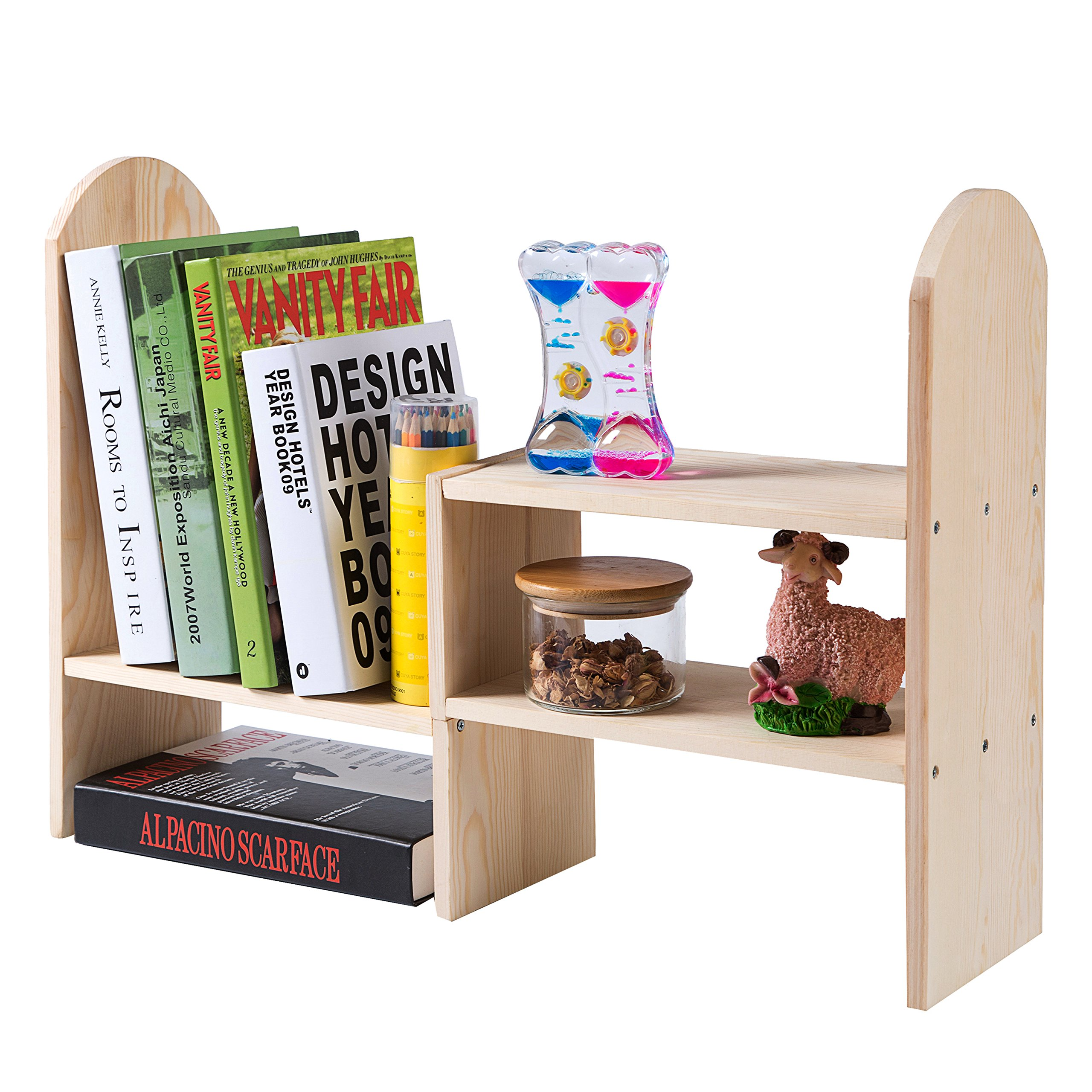 Natural Bamboo Wood Modular Desktop Bookcase, Expandable Shelving Unit Organizer