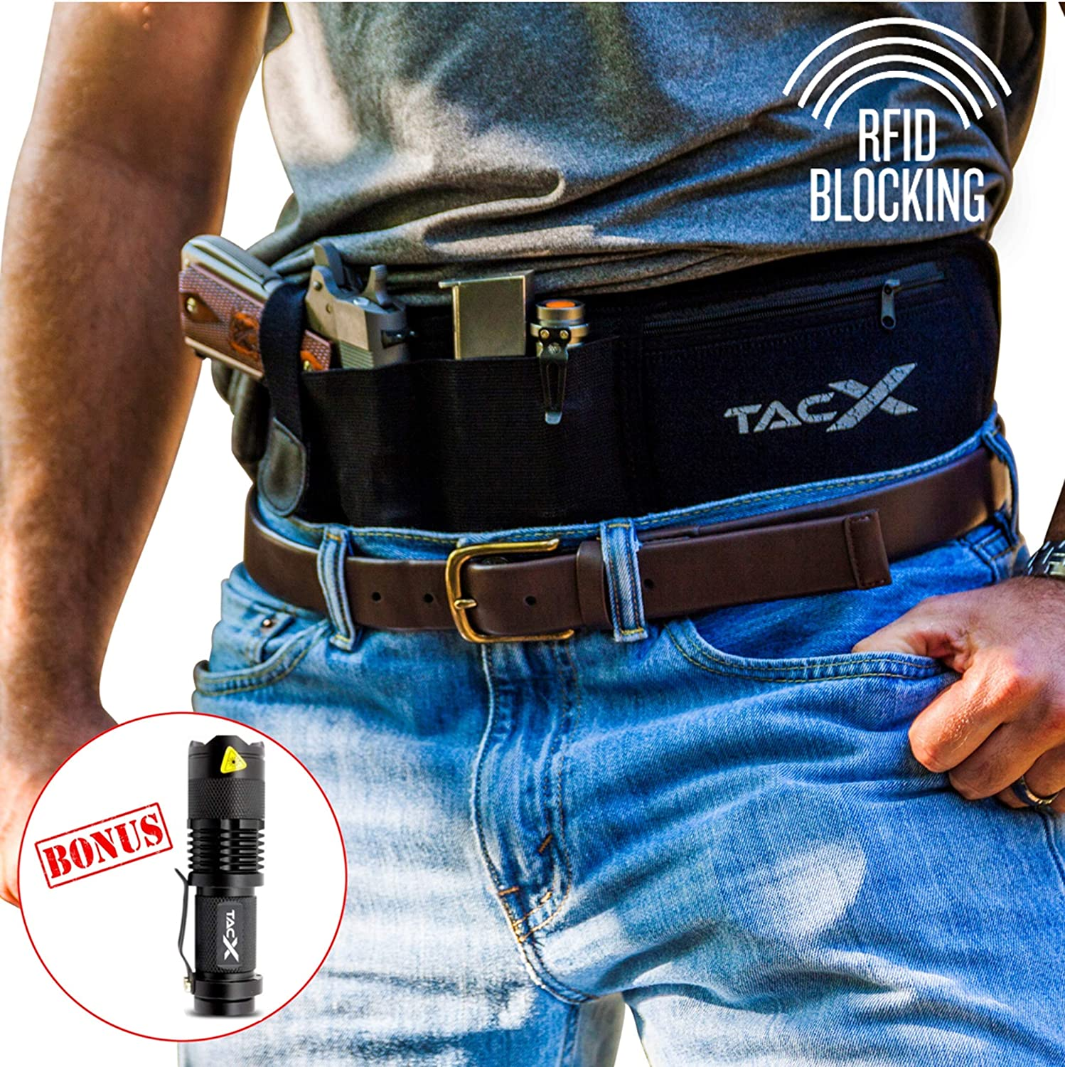 BELLY BAND HOLSTER for Active Concealed Carry | IWB/OWB Pistol Waistband  Belt for Running, Hiking, Jogging | Waterproof Zipper Travel Pocket | Spare