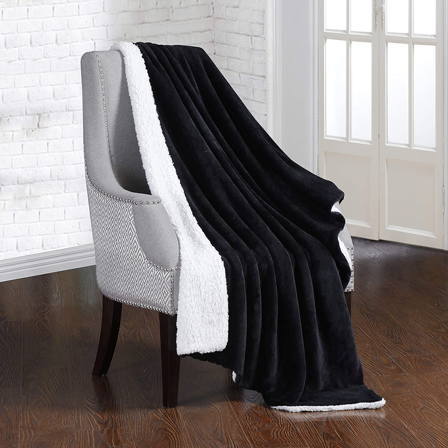Dream Lab Soft Sherpa Reversible 15lb Weighted Blanket With Removable Washable Cover Charcoal Ivory 48 X 72 Home Kitchen