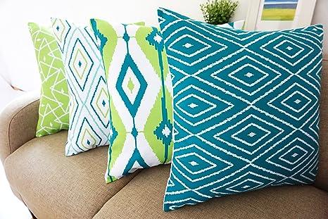 Amazon.com: howarmer Lona de algodón azul decorativo Throw ...