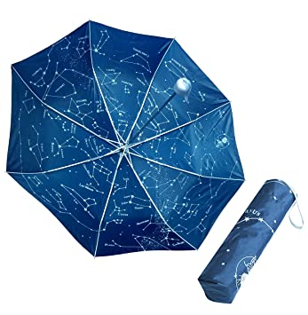 Paraguas Constelaciones plegable luminiscente - Brilla en la oscuridad mostrando las estrellas del firmamento, agrupadas