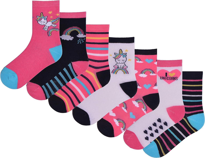Girls 7 Pairs Ankle Socks Childrens Kids Coloured Novelty Unicorn Design Socks