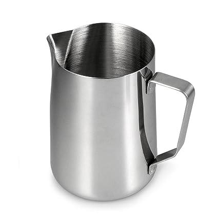 Jarra de leche de acero inoxidable para espumar leche, (1 L, espumador de leche, espuma de leche, Barista Jarra para hacer espuma, Cafe, color: plata ...