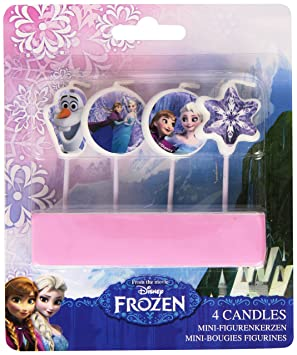 Amscan- Paquete de 4 velas, diseño Frozen, unico (Travis Designs 999257)