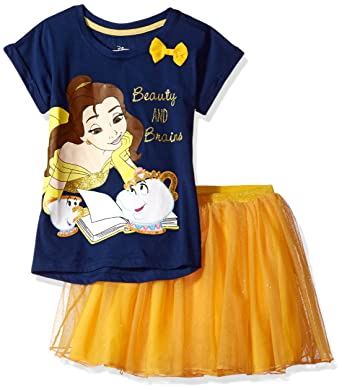 416f9c0ad Amazon.com: Disney Girls' Beauty and the Beast Belle 2-Piece Skirt Set:  Clothing