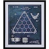 "Amazon Brand – Stone & Beam Modern Dark Blue Print, Billiard Rack Patent Wall Art, in Black Frame, 28"" x 34"""