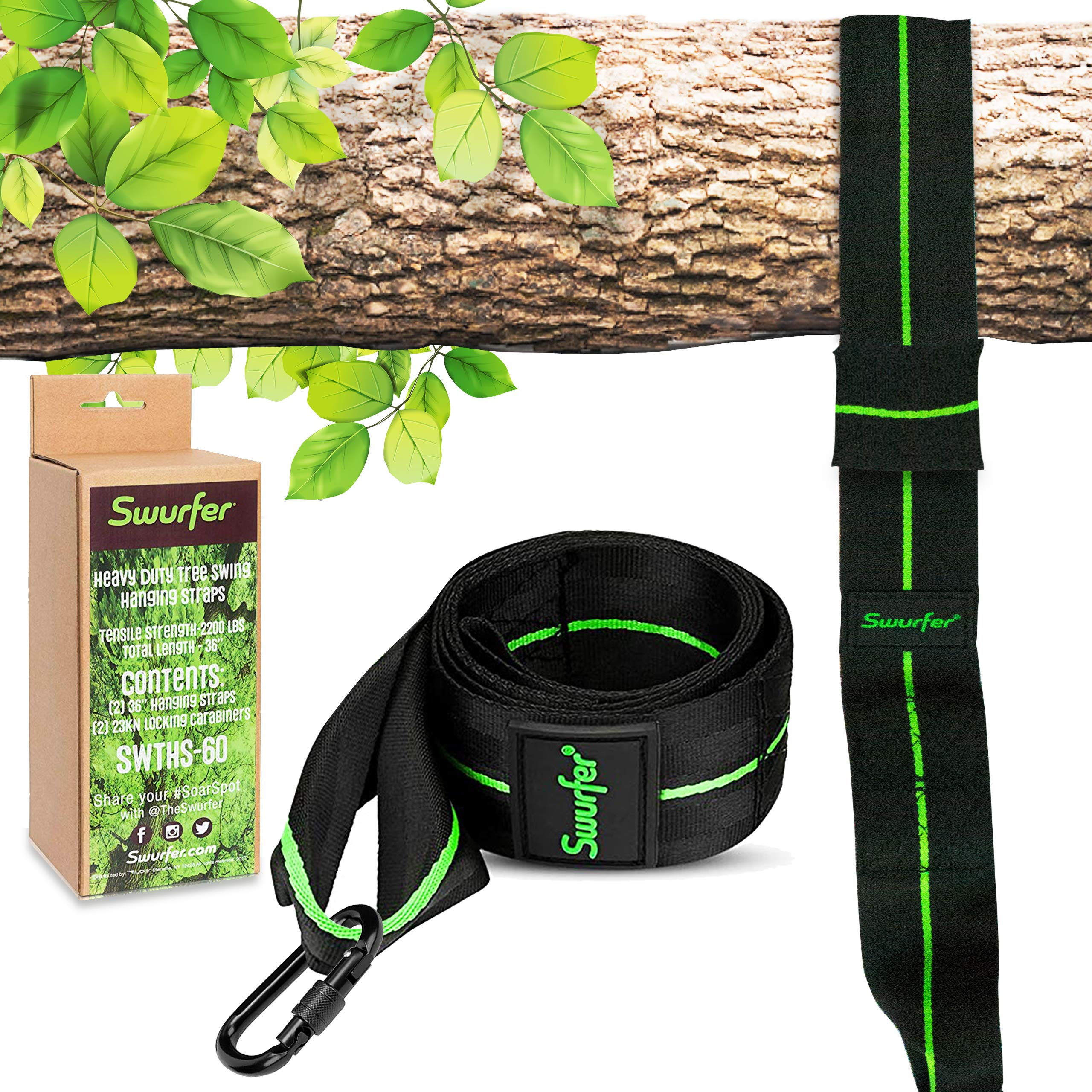 Swurfer 10ft Tree Swing Straps Hanging Kit - Durable Weatherproof Tree Attachment Strap - Includes 1 Industrial Strength Safe Locking Carabiner, Holds 2000 Lbs - Hang Any Swing or Hammock