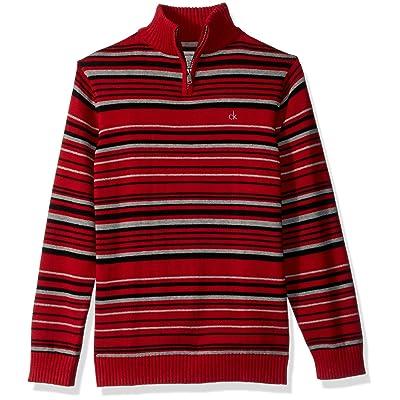 Calvin Klein Boys' Focal Stripe Half-Zip Sweater