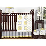 Sweet Jojo Designs 11-Piece Yellow, Gray and White Mod Garden Baby Girl Flower and Butterfly Crib Bedding Set Collection Without Bumper