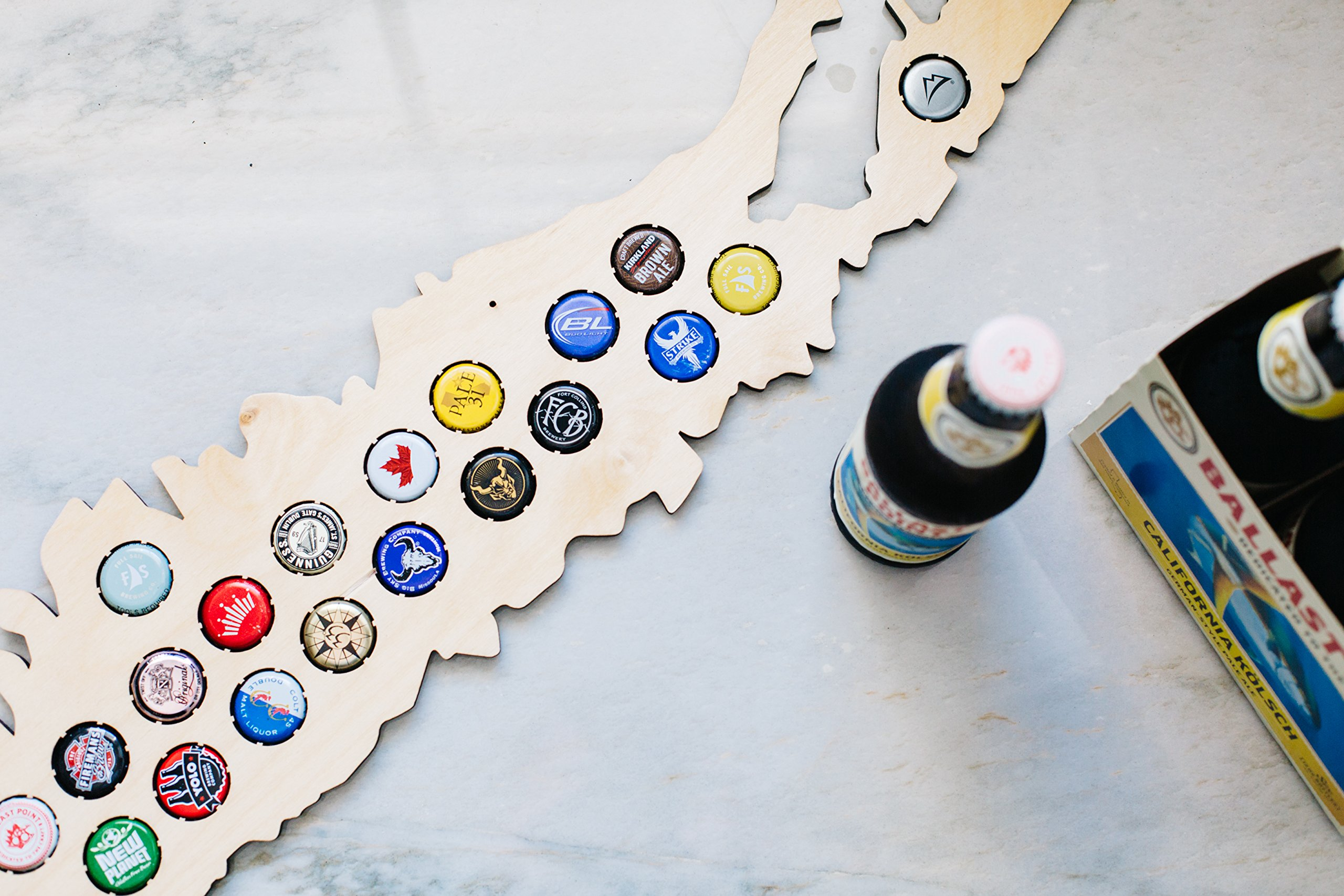 Long Island Beer Cap Map - Holds Craft Beer Bottle Caps - New York Neighborhoods (natural_wood) by Beer Cap Country (Image #4)