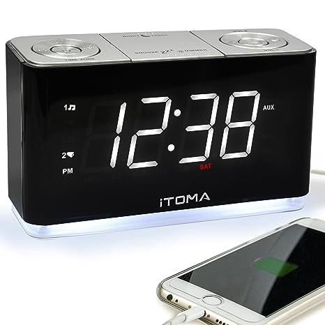 Radio Reloj Digital FM con luz Nocturna, alarmas Dobles, Brillo automático, Gran Pantalla