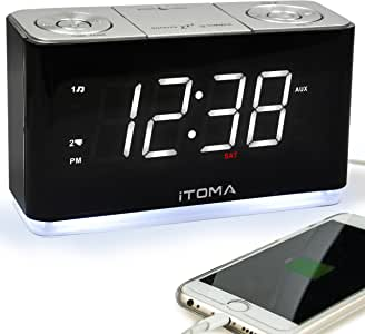 Radio Alarm Clock FM Digital Radio Clock Bedside Alarm Clock with Night Light,Dual Alarms Auto Brightness Dimmer Control,1.4-inch Large White LED Display,USB Charging Auxiliary Input Backup Battery(iTOMA CKS507)