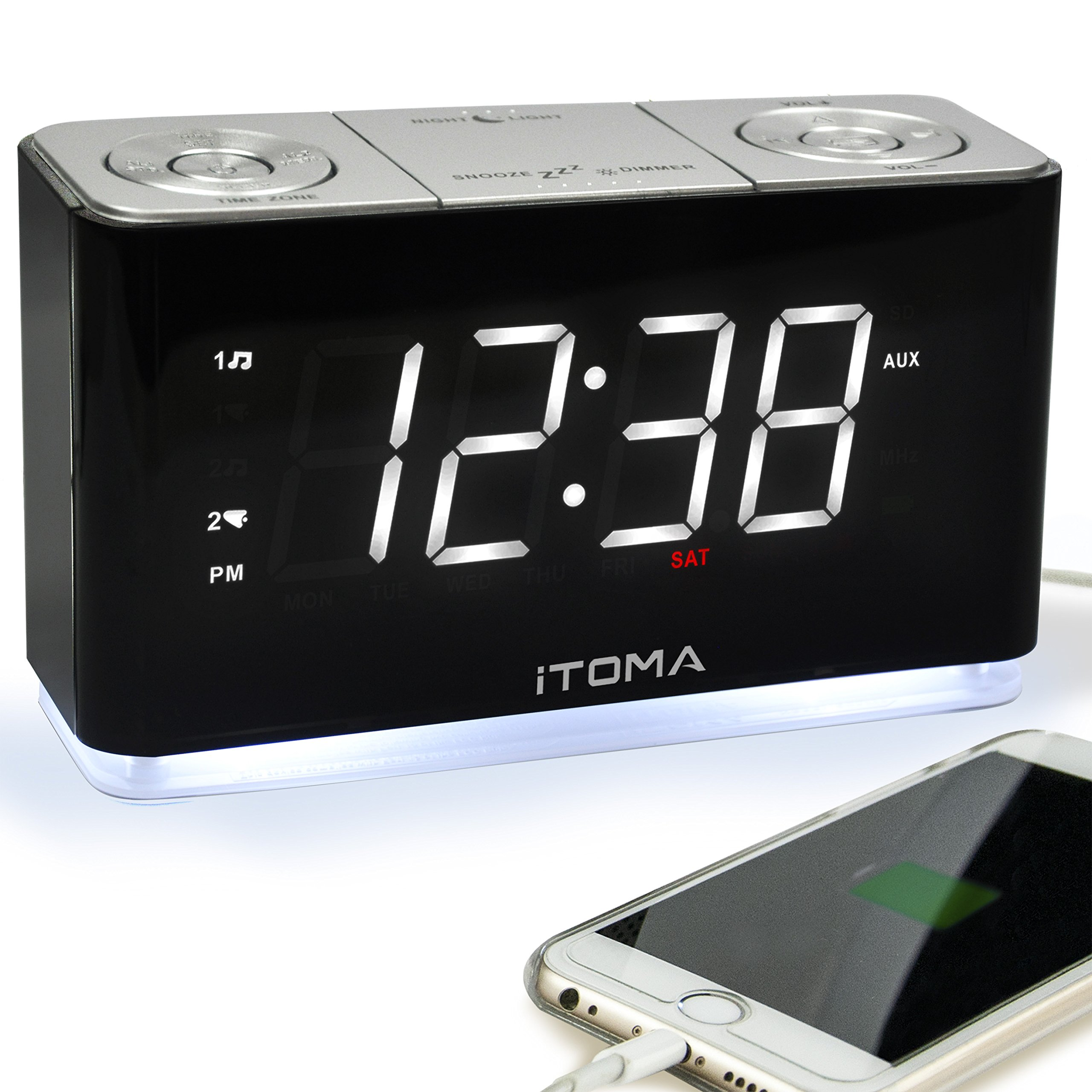 iTOMA Alarm Clock Radio, Digital FM Radio, Dual Alarm, Cell Phone USB Charge Port, Night Light, Auto & Manual Dimmer, Snooze, Sleep Timer, AUX-in, Backup Battery (CKS507) by iTOMA
