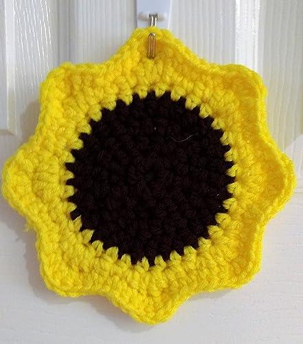 Amazon Double Strand Sunflower Crochet Pot Holder Handmade