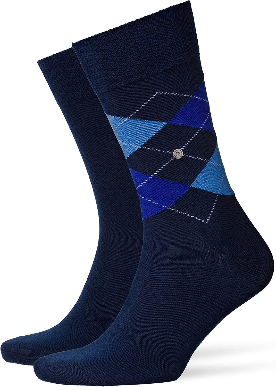 US 7.5-12 40-46 Burlington Men Socks Everyday Pack of 2 Onesize Diamond Pattern