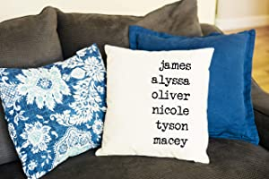 Qualtry Personalized Throw Pillow Covers Family House Decor 18 in x 18 in - Great Birthday Gifts for Mom and Grandma, Also a Unique Warming Gift (3 Names)
