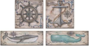 Retro Grey and Teal Whale Anchor and Captains Wheel Prints; Nautical Coastal Decor; Two 18X6 and Two 12x12 Paper Prints
