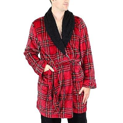 Amari Men's Plush Velvet Bath Robe with Berber Collar Loungewear (Red Tartan, One Size Fits Most) at Men's Clothing store