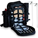 Picnic Backpack - 2 Person - Complete Set - Picnic Basket with Cooler Storage - Wine Stakes - Blanket - Plates and Cutlery Set