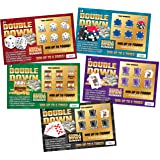 DOUBLE DOWN - Casino Night Fake Scratch Off Cards (5 tickets) - Win $1000 or $5000 - Prank Winning Scratcher Tickets for…