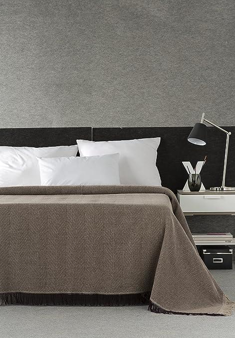 DECORACION NUEVO ESTILO- Plaid-Foulard Multiusos Espiga para Camas o sofás, tamaño 180 x 260, Color 77 Chocolate (Varias Medidas y Colores)