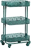 Linon 3-Tier Cart Metal, Turquoise