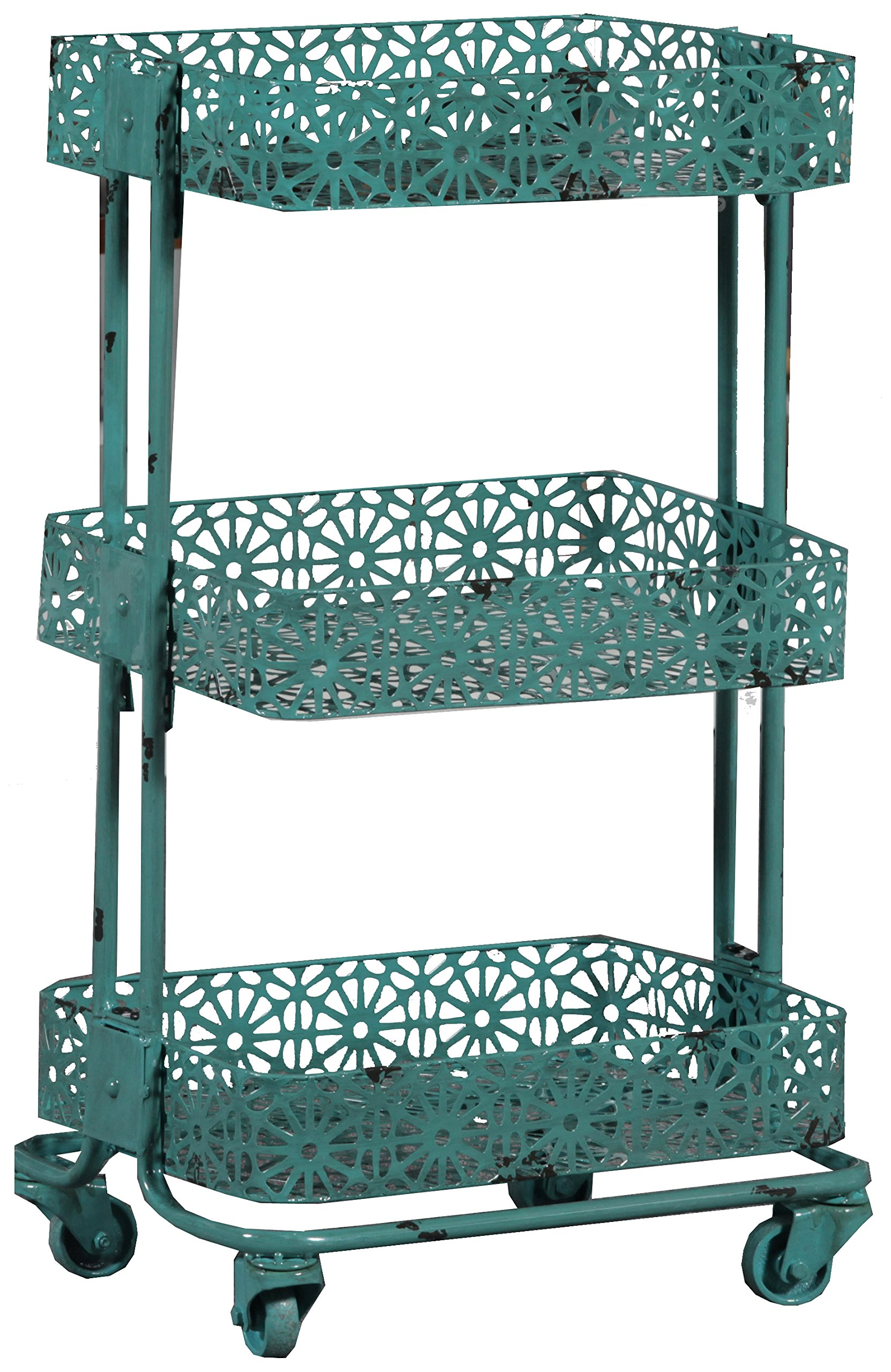 Linon 3-Tier Cart Metal, Turquoise by Linon