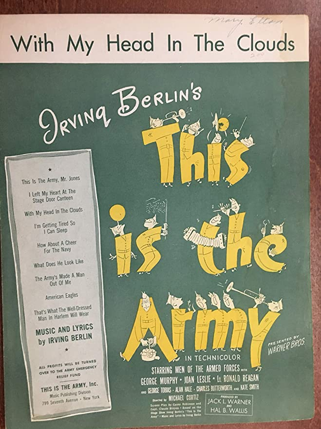 WITH MY HEAD IN THE CLOUDS (Irving Berlin 1942 SHEET MUSIC