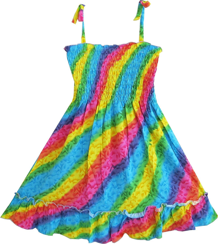 M/ädchen Kleid Regenbogen Smok Halfter