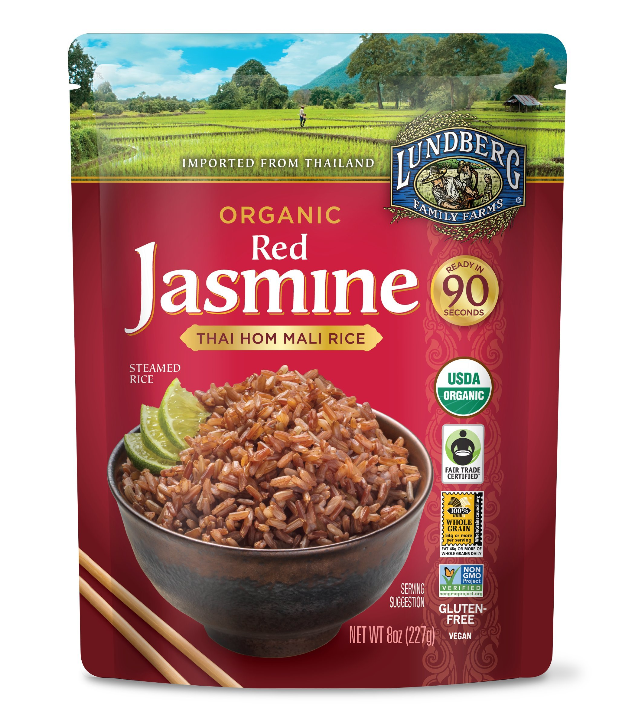 Lundberg Family Farms Organic Red Jasmine Rice, Thai Hom Mali, 8 Ounce